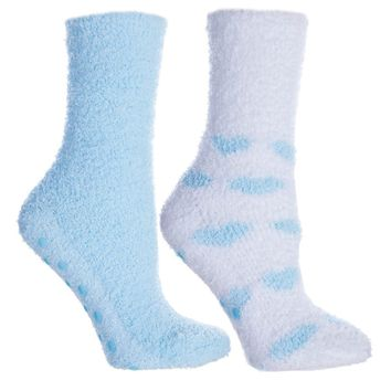 2 Pair Fluffy Chenille Socks-Lavender Infused — Hearts — New