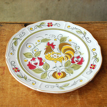 Vintage Mikasa Rooster Side Plate Terra Stone Coq D'oro by vint