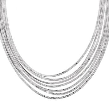 Seven Strand Herringbone Necklace in Sterling Silver, 17 Inch