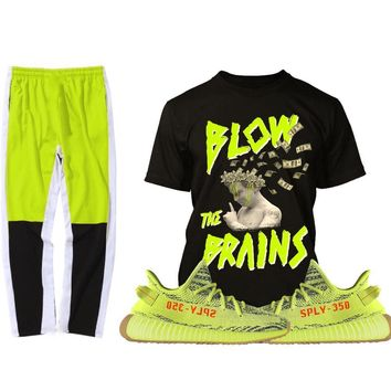 Yeezy 350 Boost Frozen Semi Yellow Sneaker Outfit - BRAINS PG - Track Pants + Shirt