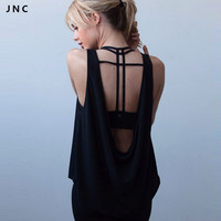 JN Collection 2016 New Open Back Lightweight Yoga Tank Top Tee Backless Black&White Quick Dry Workout Running Shirts For Women