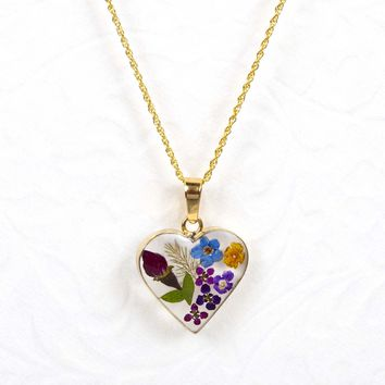 Small Gold Over Sterling Silver Dried Flower Heart Necklace