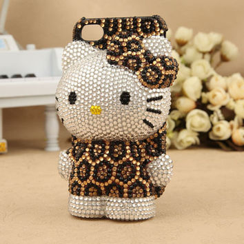 Apple iPhone 4S 4G Japanese Cute Leopard Kitty Type New Design Bling Crystals Hard Back Case Cover Free Shipping Worldwide