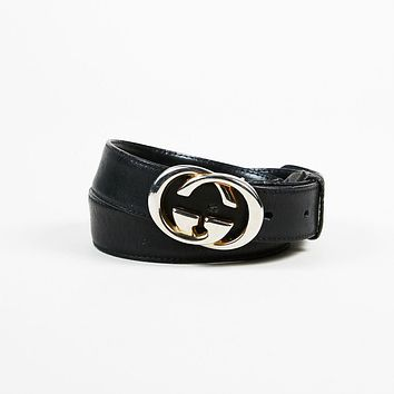 "KIDS Vintage Gucci ""GG"" Logo Leather Belt SZ 70-28"