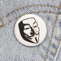 Guy Fawkes Mask 1.25 Inch Pin Back Button Badge