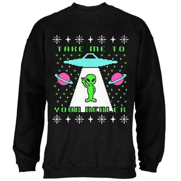 DCCKU3R Alien Take Me to Your Dealer Ugly Christmas Sweater Mens Sweatshirt