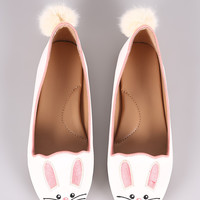 Bamboo Embroidered Animal Face Round Toe Loafer Flat