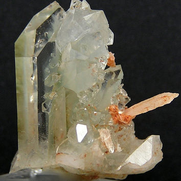 Quartz with Green Chlorite Phantoms, Natural Rock Crystal from gold mining town of Shingle Springs, California Vintage mined in the 1960's