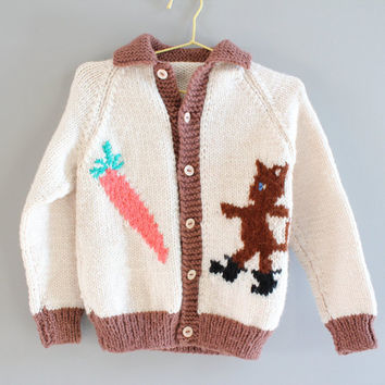 Handmade Toddler Cardigan Cream Brown Button Up Sweater Carrot Devil Knit work Size 3 to 4 years old