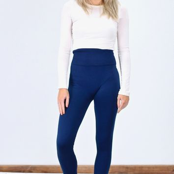 Tummy Control High Waisted Fleece Lined Leggings {Navy}