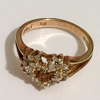 Diamond Cluster Ring, Heart, 14K Gold