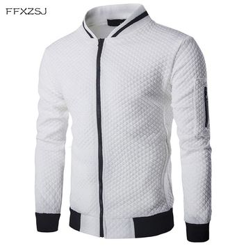 Men's Hoodie Male Brand Casual Zipper Jacket Stand-Neck Sudaderas Hombre High-Grade Sweatshirt White 3D Plaid Tracksuit XXL