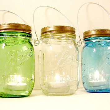 Three Ball Mason Jar Lantern Green Blue Clear Heritage Collection Candle Hanging Vase Outdoor Lighting