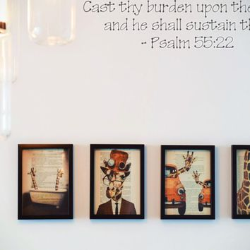 Cast thy burden upon the Lord, and he shall sustain thee - Psalm 55:22 Style 23 Die Cut Vinyl Decal Sticker Removable