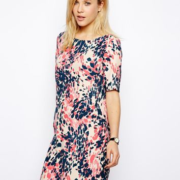 ASOS Shift Dress In Animal Print - Green print