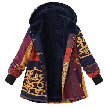 Primitive Print Design Plush Lined Snap Front Hooded Cotton Linen Coat