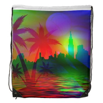 spectacular palm tree drawstring backpack
