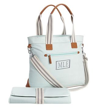 Aqua Classic Tote Diaper Bag | Pottery Barn Kids