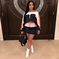 Women Casual Two Piece Off The Shoulder Long Sleeve Crop Top Skirt Set