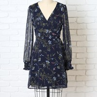 Navy Floral Chiffon Wrap Dress