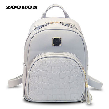 2017 New Arrival Fashion Woman Backpack PU Leather  Korean Style Student Schoolbag Alligator Print Leisure Bags for Girls