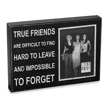 """Sixtrees Sentiment 5-Inch x 7-Inch """"True Friends"""" Black Wood Frame"""