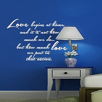 Wall Decals Quote Love begins at home Decal Vinyl Sticker Bedroom Kitchen Home Decor Dorm Living Interior Hall Art Murals MN463