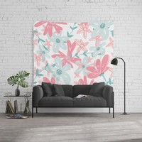 coral and mint flowers Wall Tapestry by sylviacookphotography