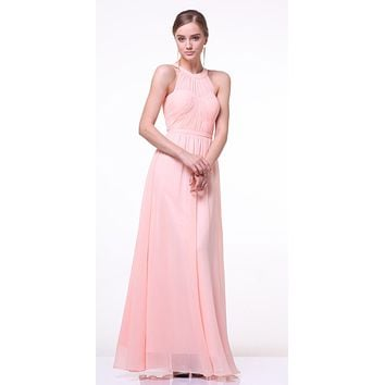 CLEARANCE - High Neck Illusion Peach Long Chiffon A Line Dress (Size XL)