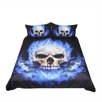 BeddingOutlet Flame Skull Bedding Set King 3D Printed Duvet Cover Blue Fire Bedclothes