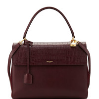 Moujik Crocodile-Embossed Satchel Bag, Bordeaux - Saint Laurent