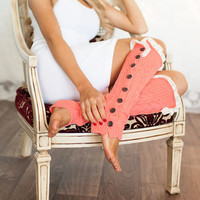 BLACK FRIDAY Cozy and Lacy CORAL Button Up Leg Warmers