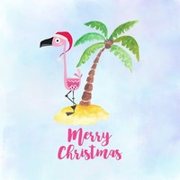 'Pink Flamingo and Palm Tree Christmas Illustration' by moonfluff