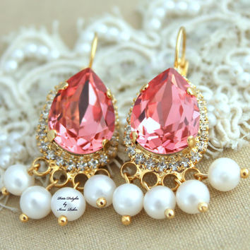 Chandelier Earrings Pearls Rhinestones and Peach  ,Bridal earrings,Christmas gift, gift for woman - 14k Gold Plated Crystal earrings.