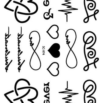 SC-974/Latest Taty Heart Letter Cardiogram Tattoo Designs Waterproof  Fake Temporary Tattoo Stickers Black Tatoos tatuagem