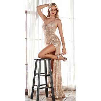 Long Fitted Sequin Gown Gold Gathered Waistline Lace Up Back