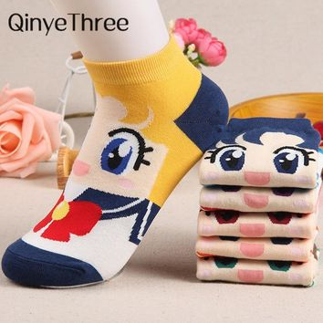2018 Cartoon Socks Breathable Soft Cotton Sox For Women Sailor Moon Female Girls Spring Autumn Summer Winter Funny Sock Superman