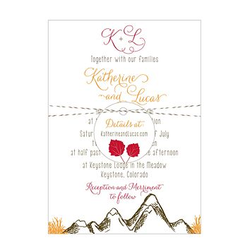 Mountain Alpine Trees and Aspen Leaves Wedding Invitation Collection