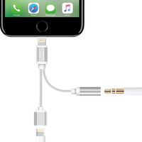 Smart Connect iPhone 7 Splitter Headphone and Charging Adapter. Apple Lightning to Headphone Jack. '