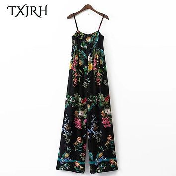 TXJRH Sexy Tropical Floral Leaf Print Backless Spaghetti Strap Slim Jumpsuit Casual Women Rompers Bodysuit Overalls K17-04-33