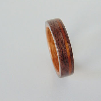 Walnut wooden ring with Golden Koa liner and pinstripe Bentwood ring