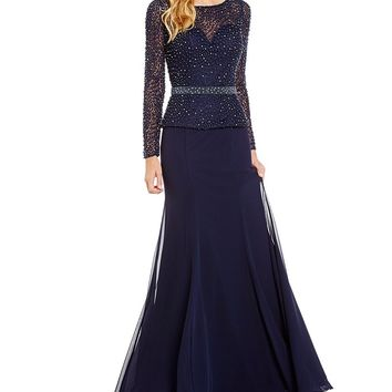Terani Couture Beaded Faux Two-Piece Gown | Dillards