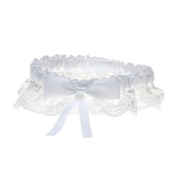 Bride's Bridal Wedding Garters Toss Satin Bowknot Lace Flowers White