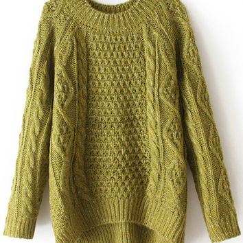 Green Cable Knit Hi-Low Sweater