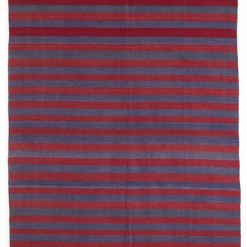 Handmade  Unique Striped Over Dyed Kilim Rug 4'9'' x 10'12'' ft 145 x 335 cm  (Free Shipping)