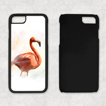 Pink Flamingo Phone Case, Rubber iPhone 5 Case, iPhone 5S Case Rubber, Pink Phone Case, Watercolor paint iPhone 6 Plus case, iPhone 5S cover