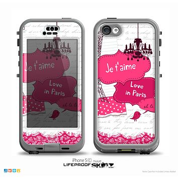 The Paris Pink Illustration Skin for the iPhone 5c nüüd LifeProof Case