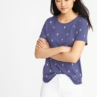 EveryWear Cactus-Print Slub-Knit Tee for Women |old-navy