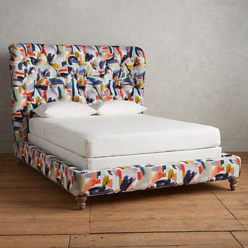 Brushstroke-Printed Wingback Bed