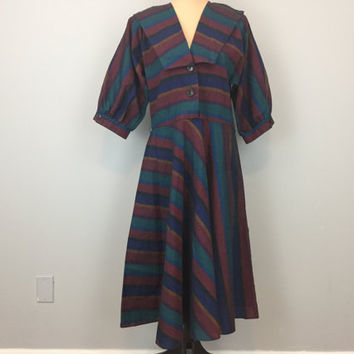 80s 90s A Line Dress Large Collar Stripe Dress Short Sleeve 1990s Size 12 Dress Full Skirt Fall Dress Red Green Navy Large Womens Clothing